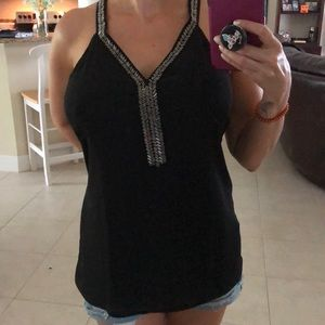 NWT 🆕 Sexy Black 🖤 Top with Beading Sz SMALL